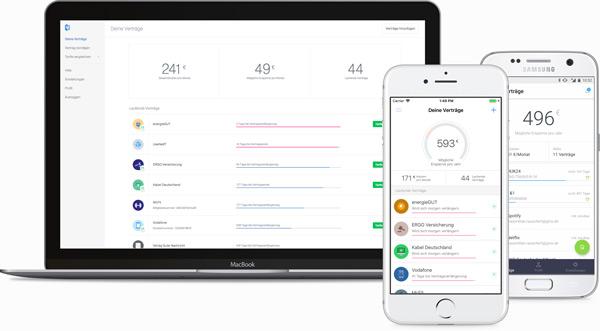 Laptop mit Volders-Website und Smartphones mit Volders-Apps